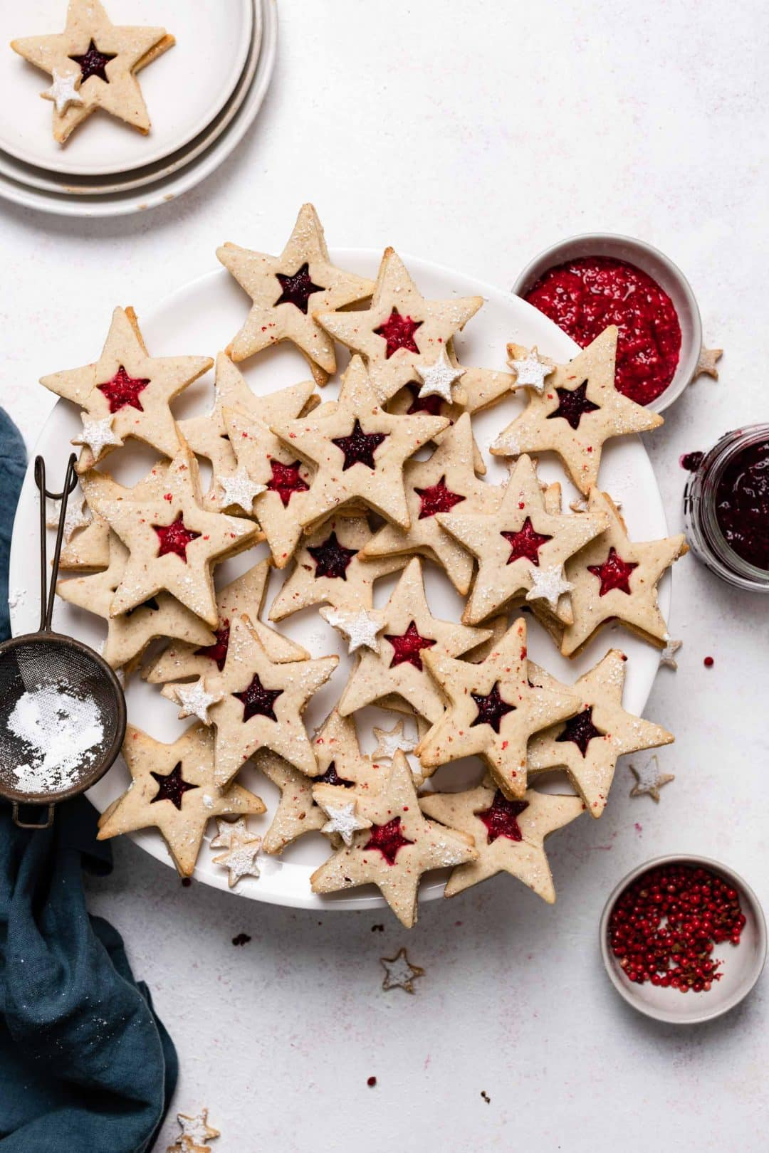 Linzer Cookies with fruit preserves and pink peppercorns