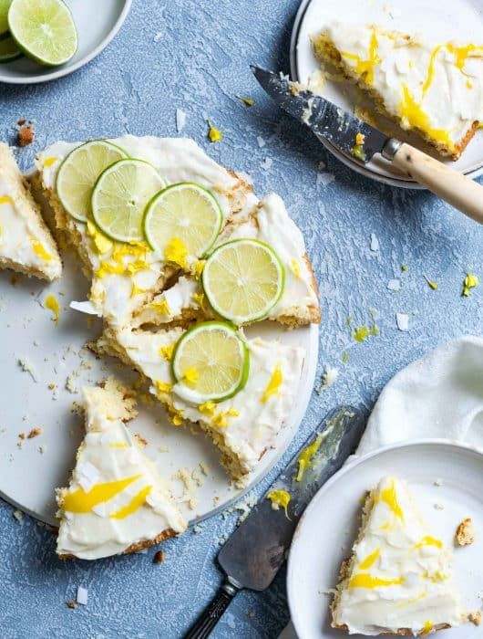 Completely Sliced Tropical Cake with Lime Frosting and Mango Curd