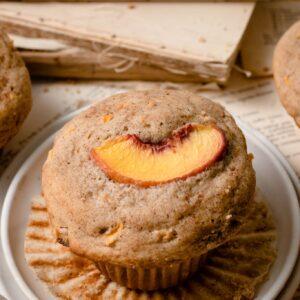 Peach filled breakfast muffin.