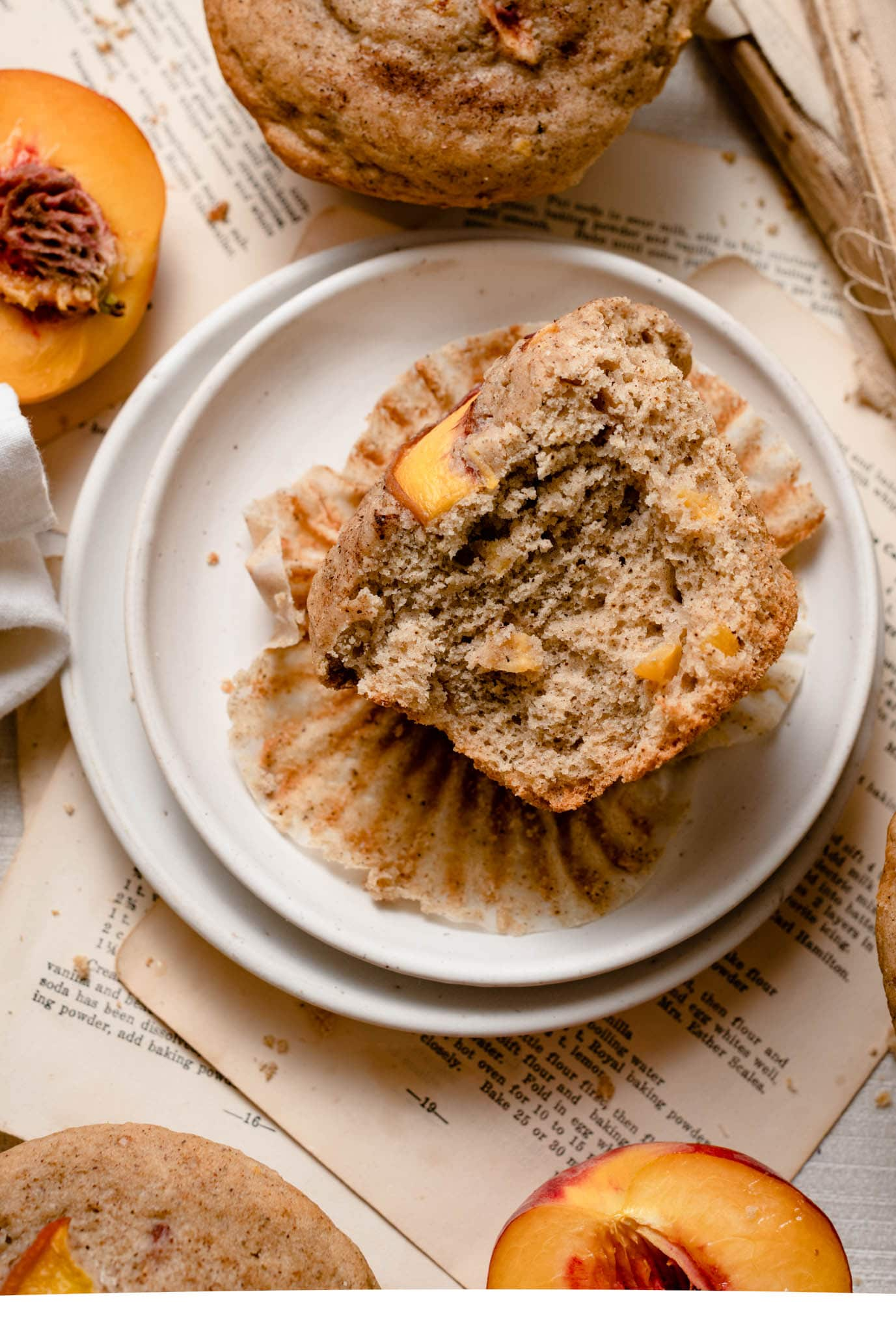 Bakery style peach muffin.