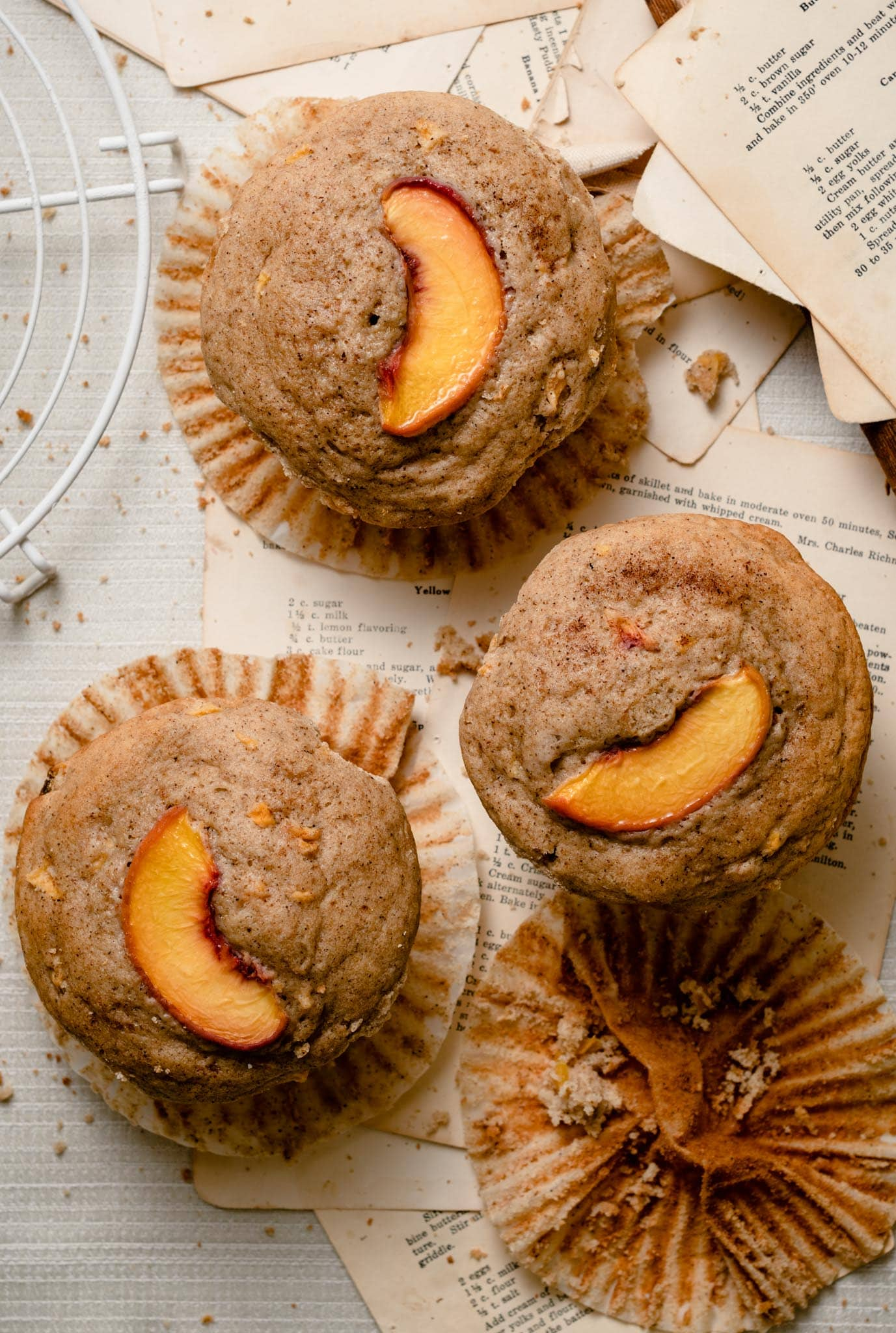 Bakery style peach muffins.