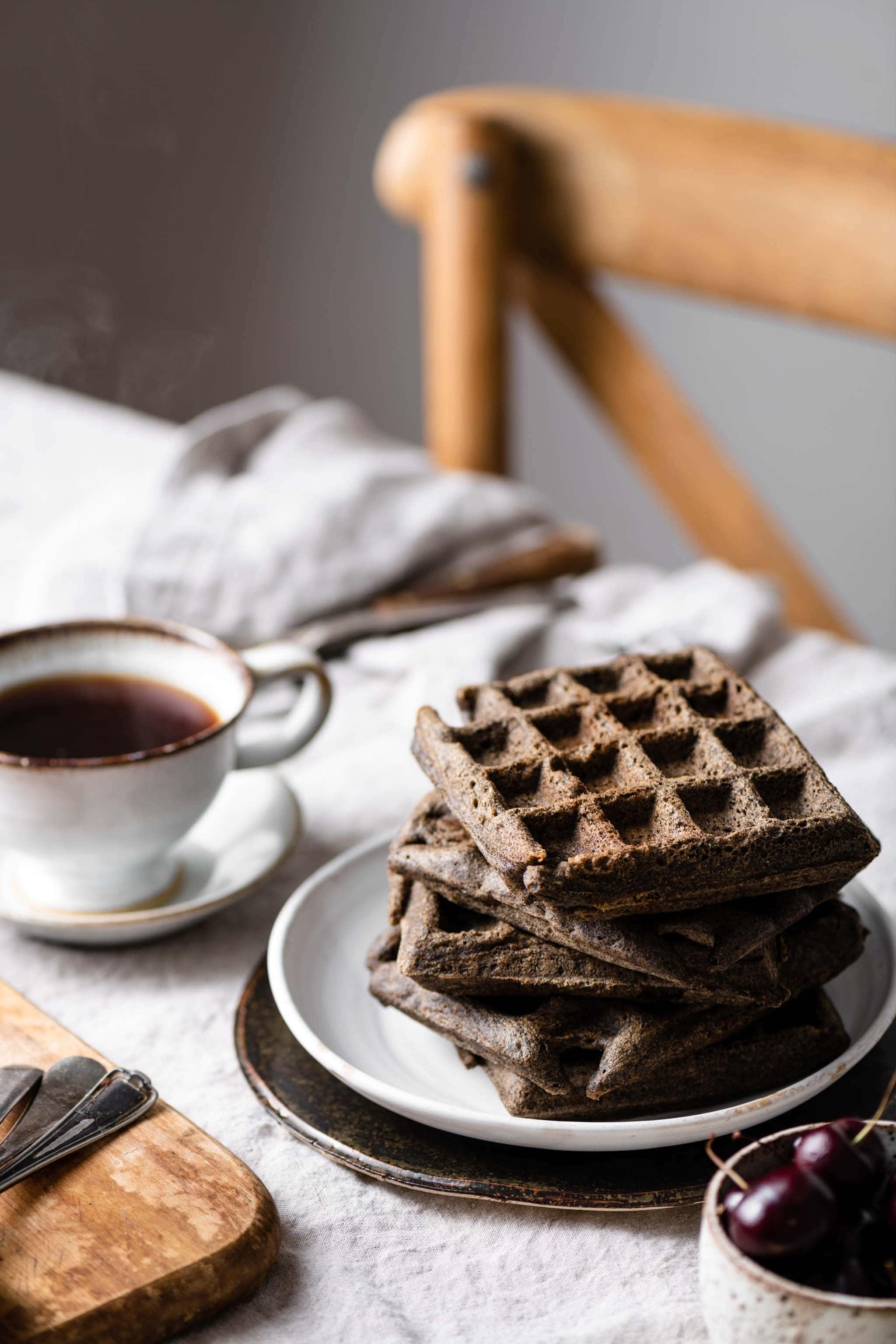 Gluten Free Buckwheat Waffles and Coffee for breakfast