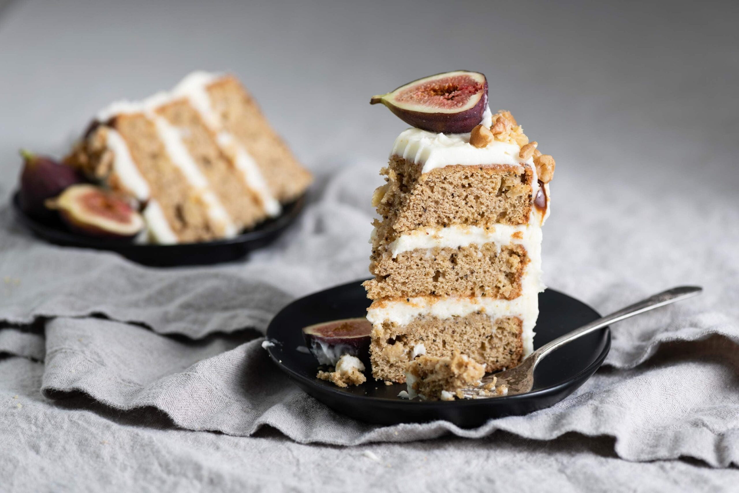 Layered Apple Spice Cake with cream cheese frosting