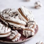 Chocolate Pavlova Meringue Cookies with chocolate ganache