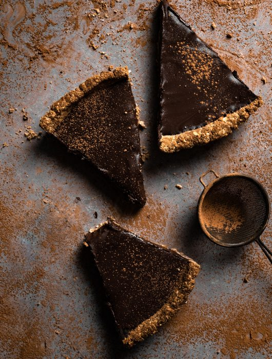Slices of chocolate tart.