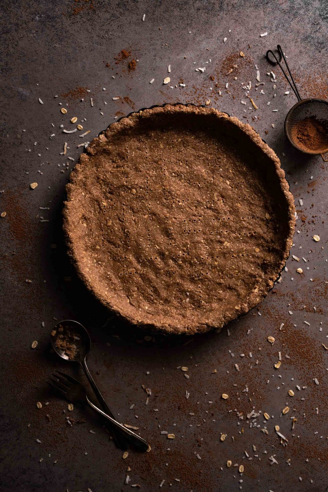 Chocolate Tart Crust Recipe that is vegan and gluten free.