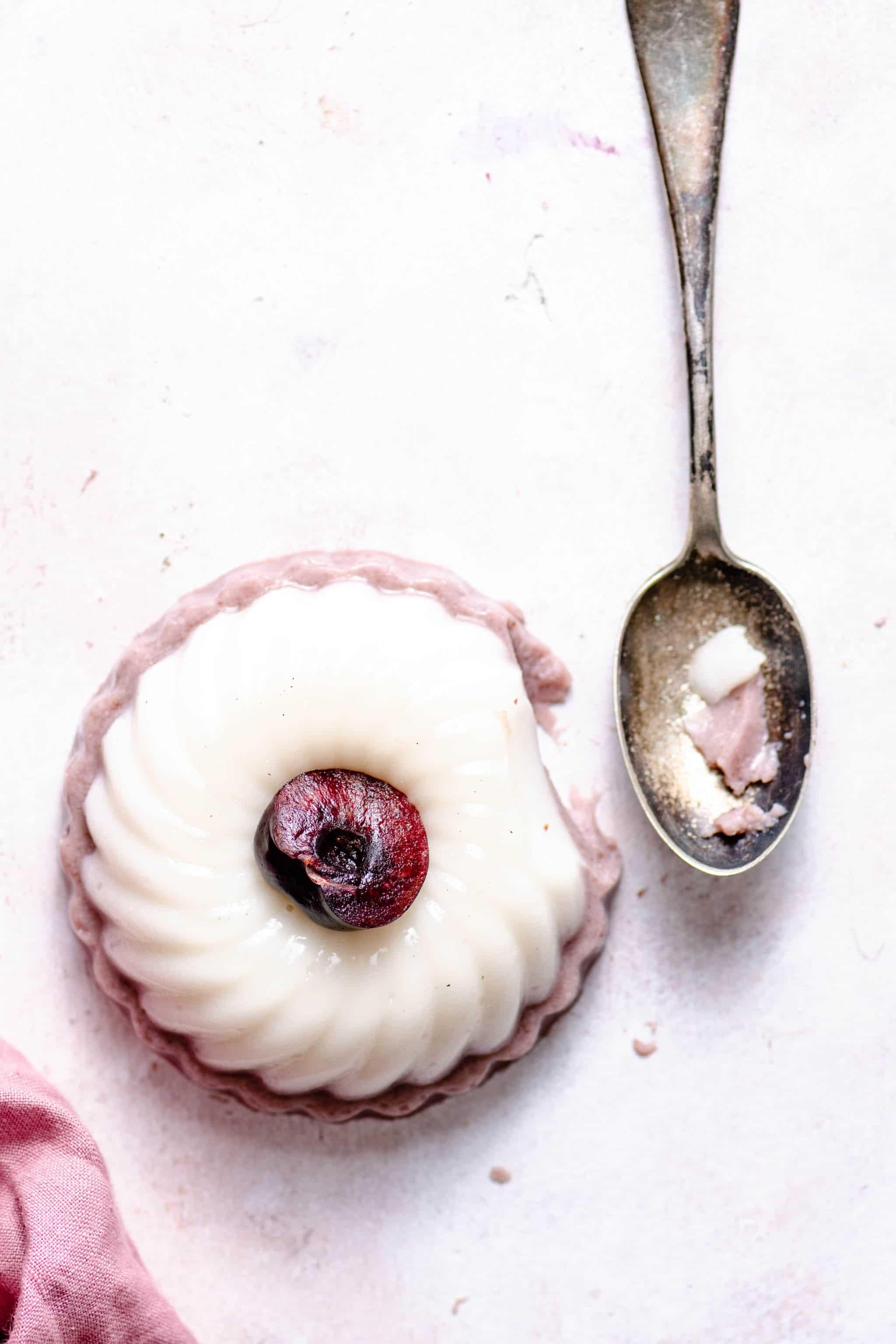 Cherry Vanilla Panna Cotta made with fresh cherries
