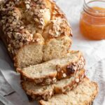 Brioche Bread Recipe with oat topping and peach preserves