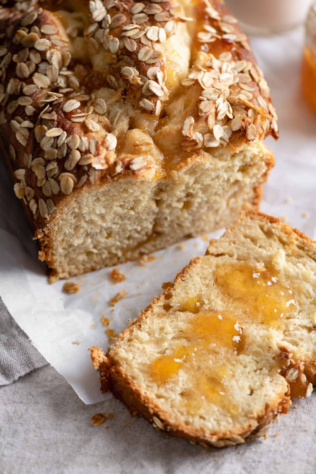 Brioche Bread Loaf sliced with peach preserves