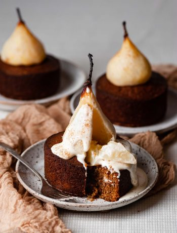 Poached Pear Cardamom Cakes with Maple Cream