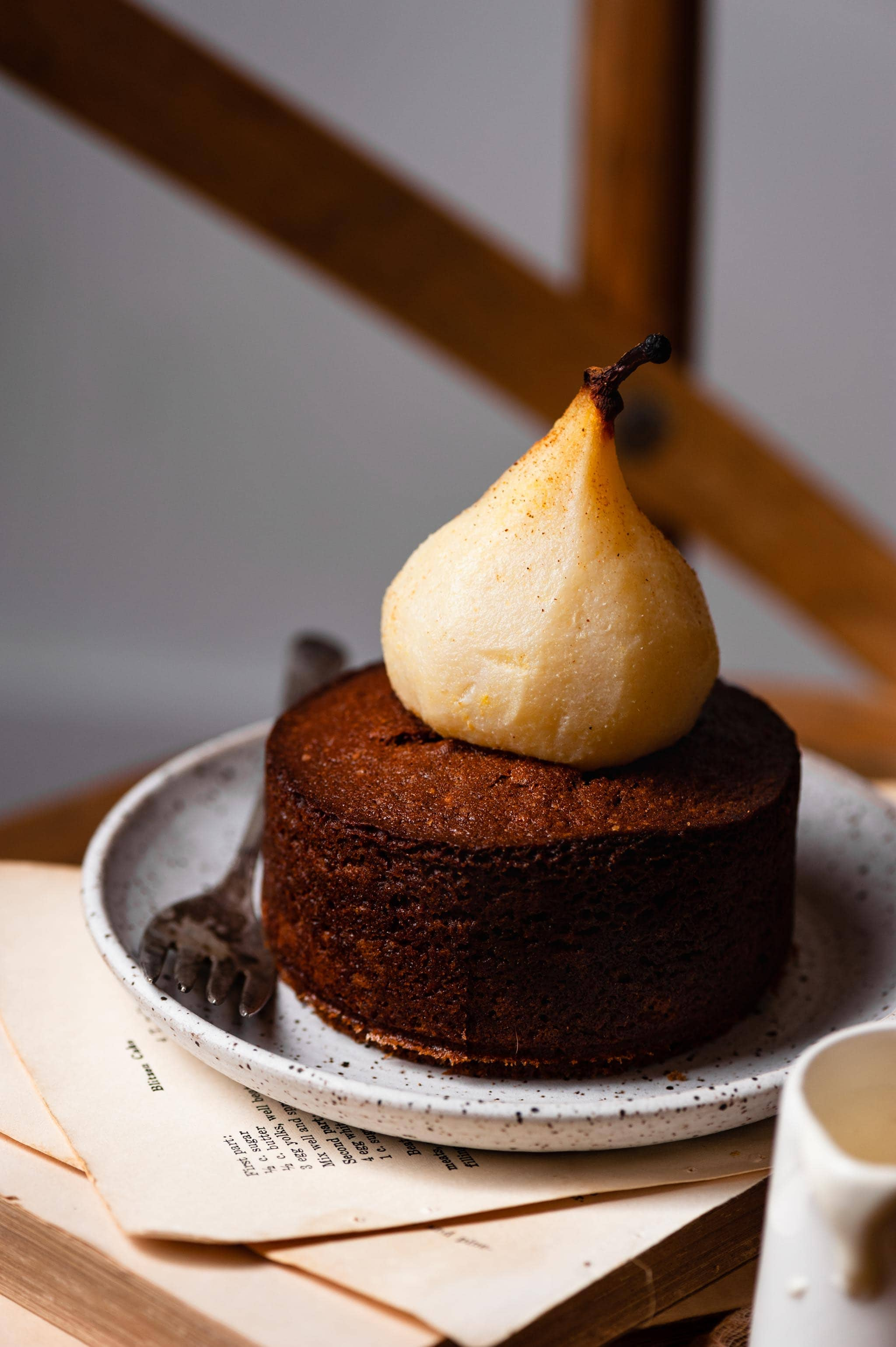 Mini Cardamom Cakes with Poached Pears