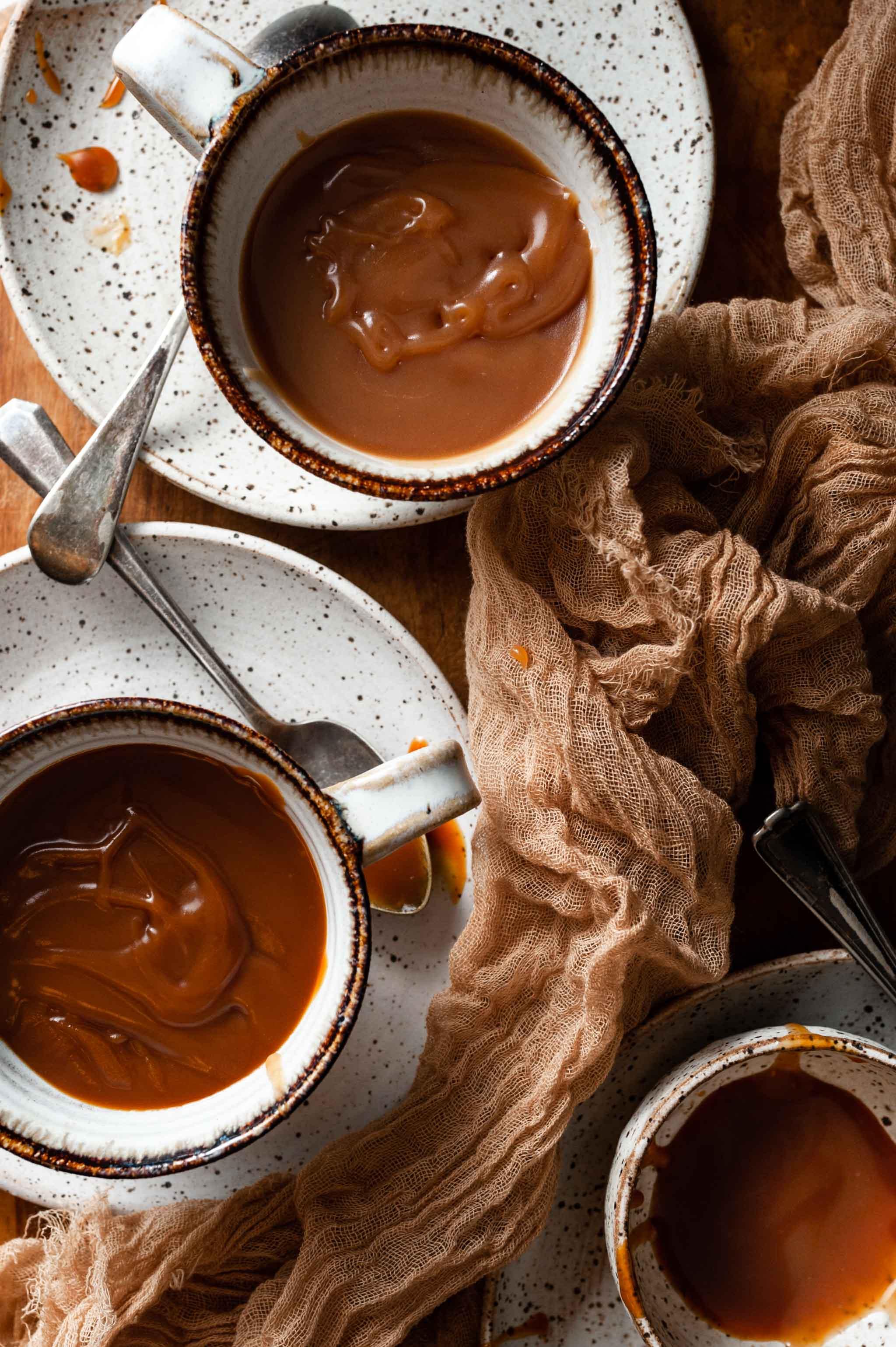 Homemade Salted Caramel sauce both dark caramel and light caramel colors