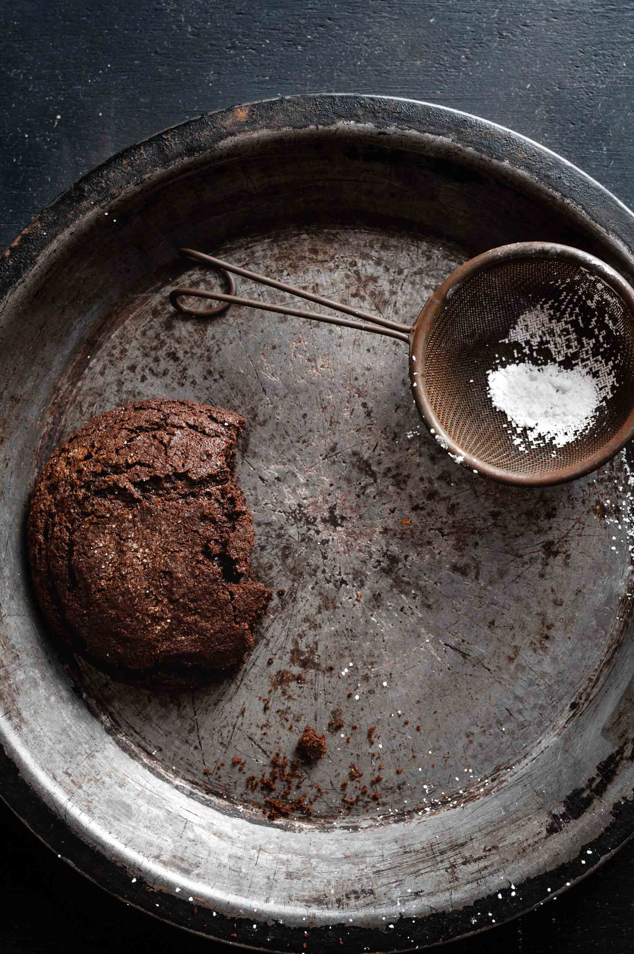 Chocolate Gingerbread Cookie Recipe with powdered sugar topping