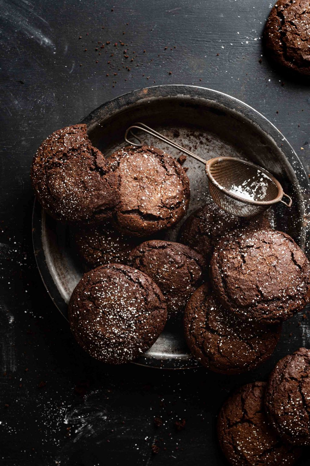 Soft Chocolate Gingerbread Cookies with powdered sugar