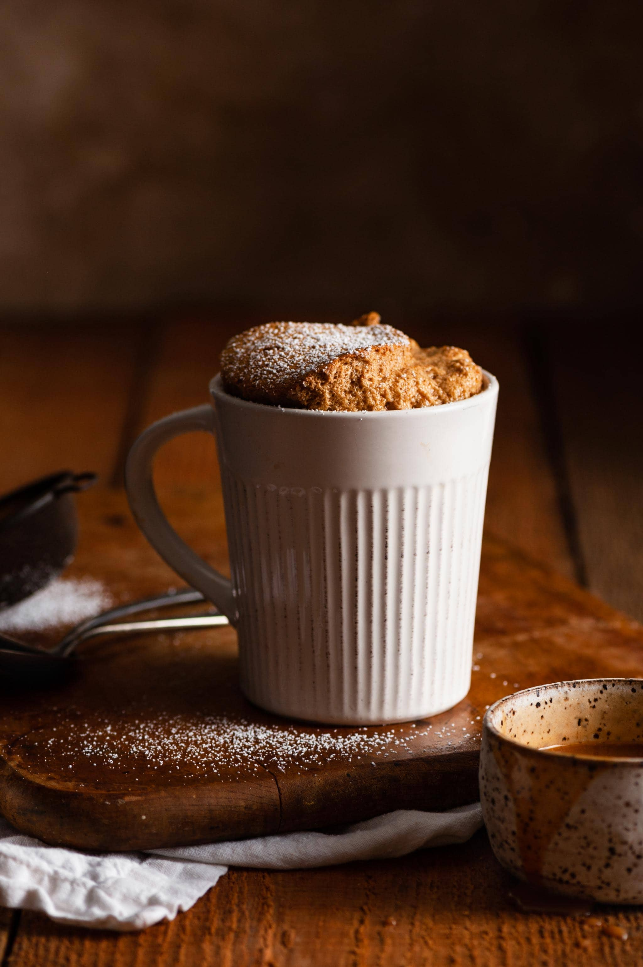 Gingerbread Souffle Dessert bakes in a coffee mug