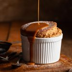 Gingerbread Souffle with a butterscotch sauce topping