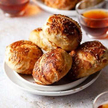 Homemade Pretzel Buns with salt and sesame seeds