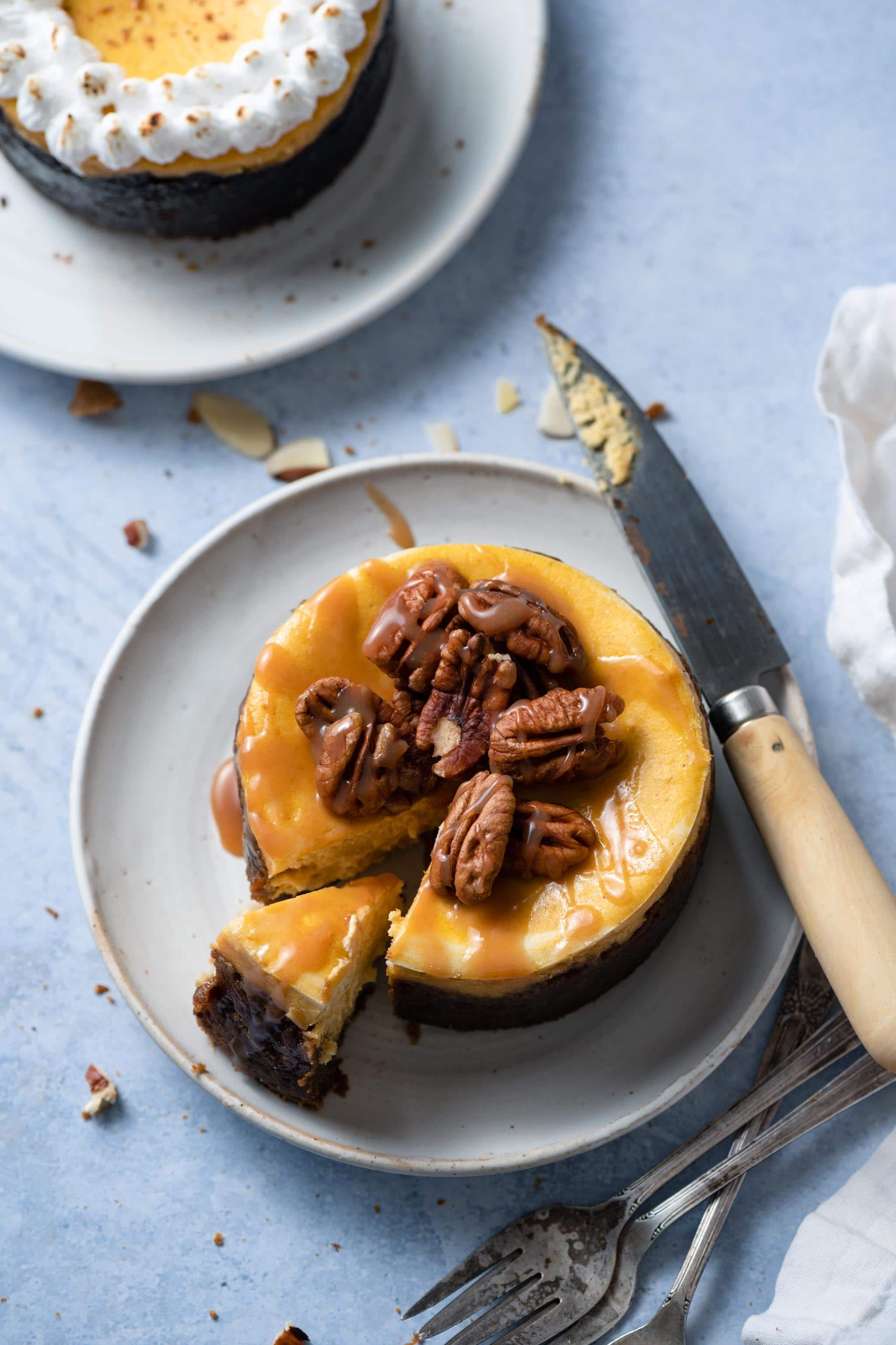 Pumpkin Swirl Cheesecake with gingersnap crust
