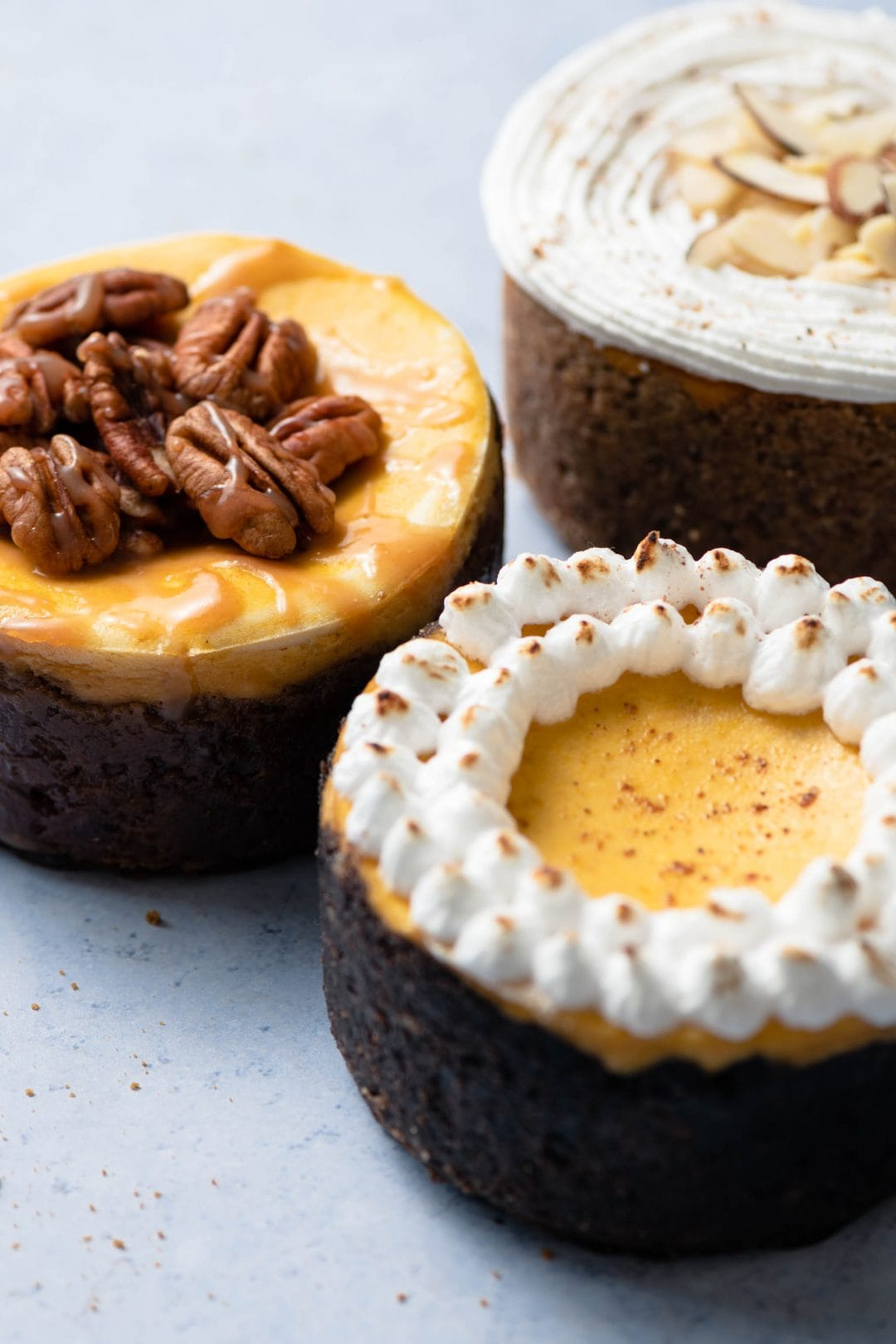 Three flavors of mini Pumpkin Cheesecake with cookie and nut crusts