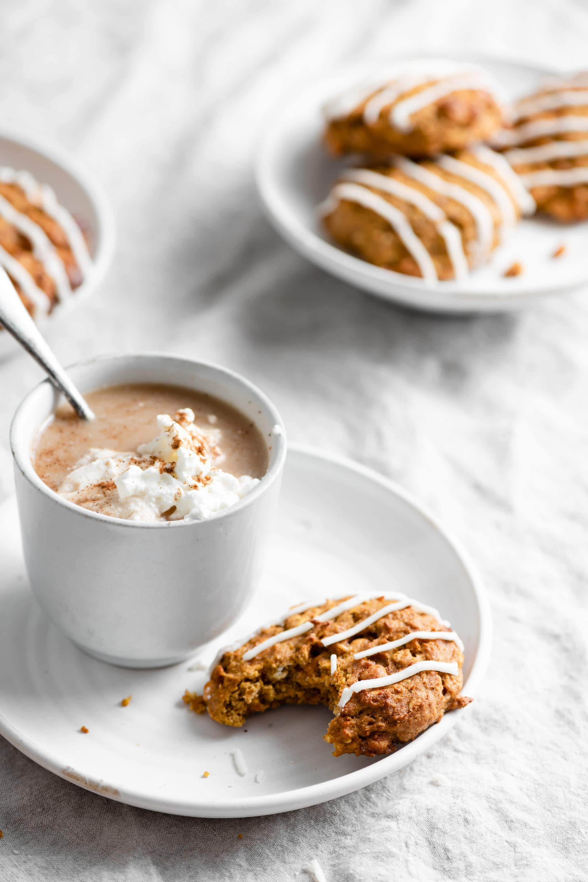 Butterscotch Pumpkin Oat cookies with Maple Vanilla Buttercream Frosting and Pumpkin Spice Lattes
