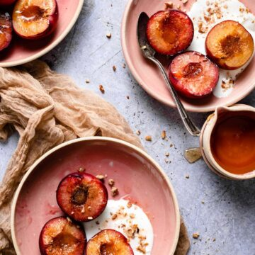 Roasted Plums with greek yogurt nuts and honey