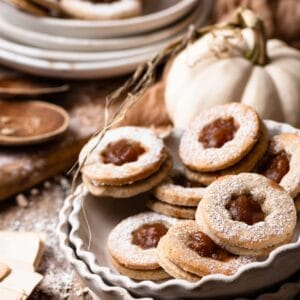 Linzer Sandwich Cookies made with homemade apple butter
