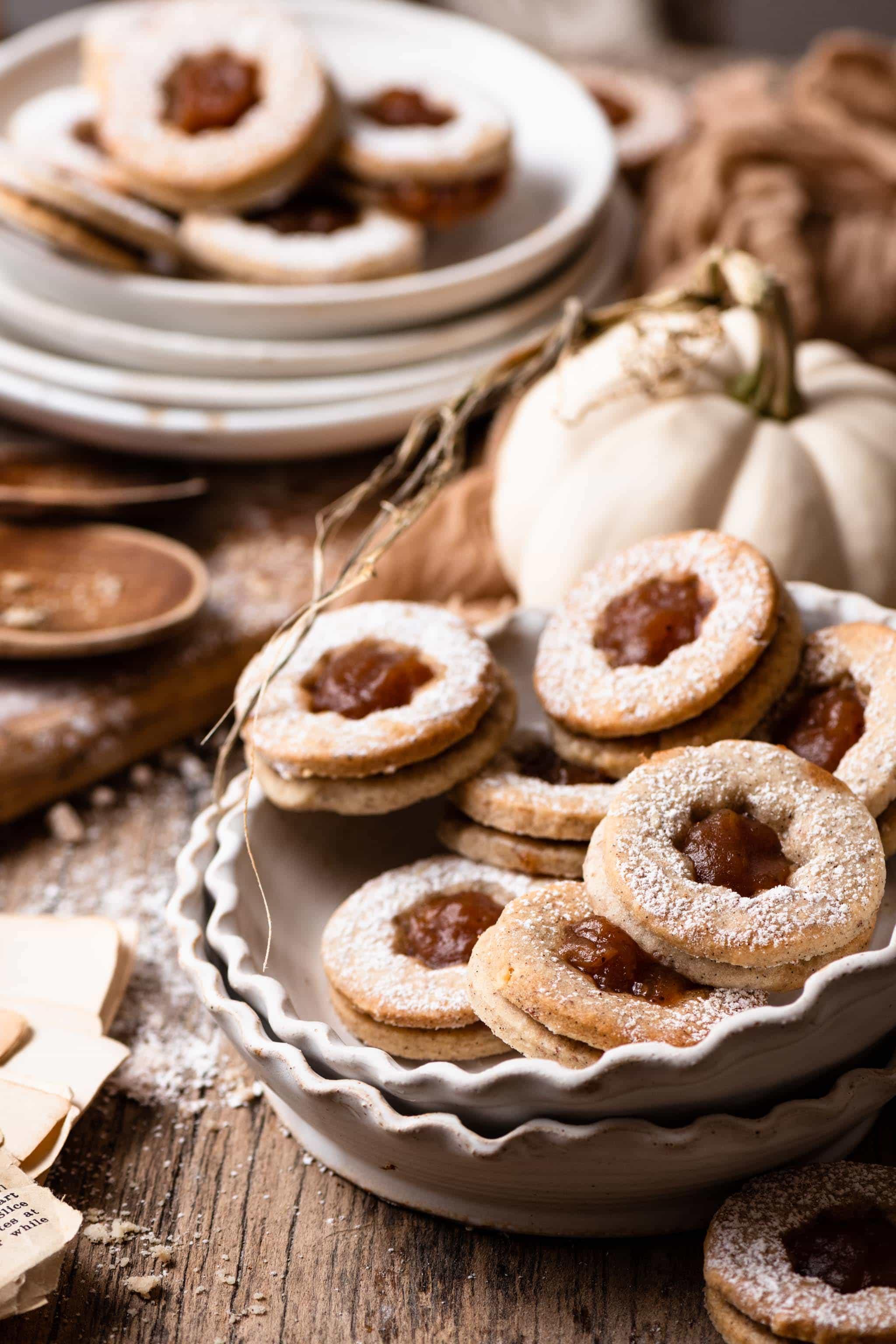 Linzer Sandwich Cookies made with homemade apple butter