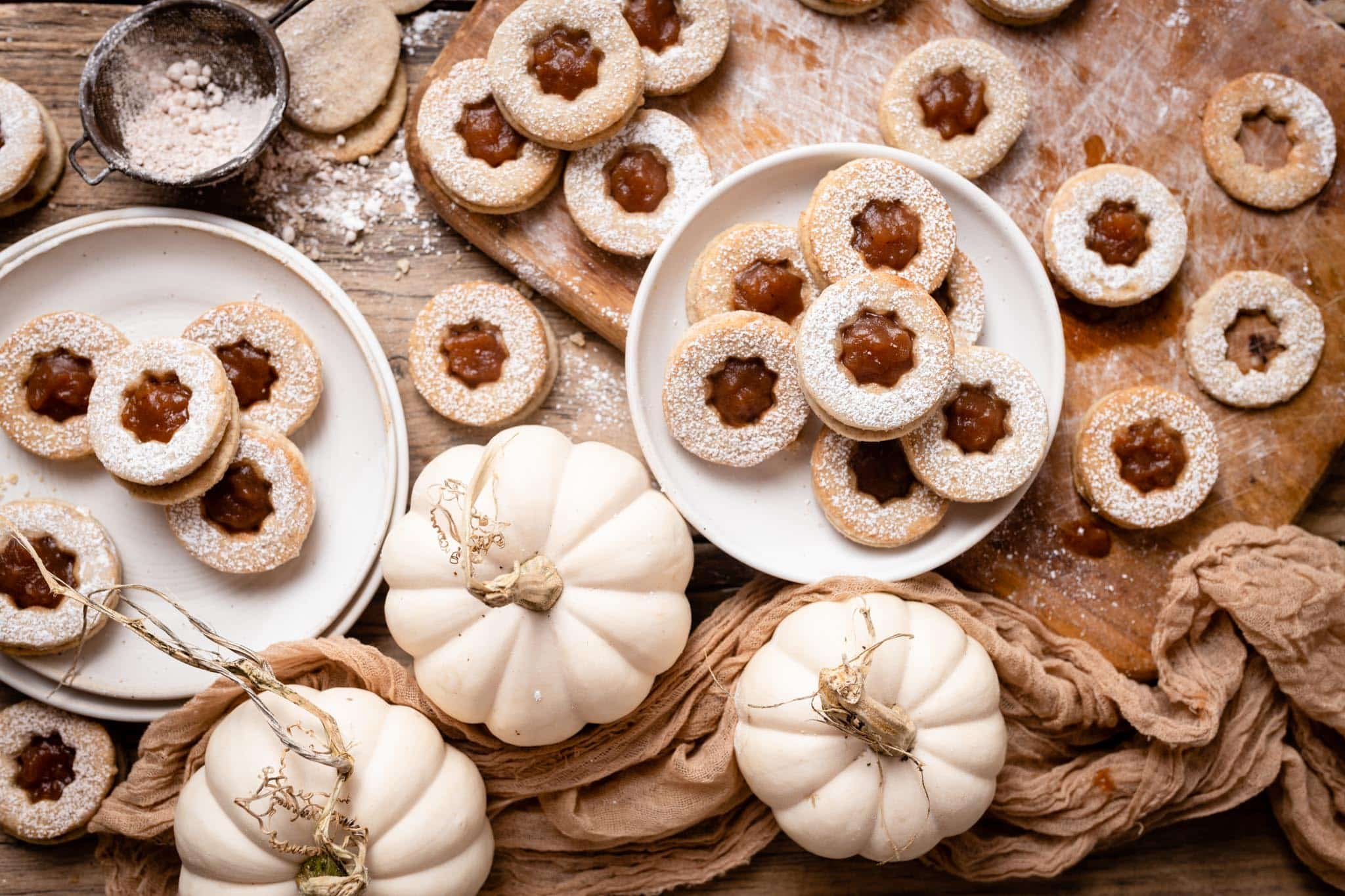 Pumpkin Spice Almond Meal Sandwich Cookies with Apple Butter