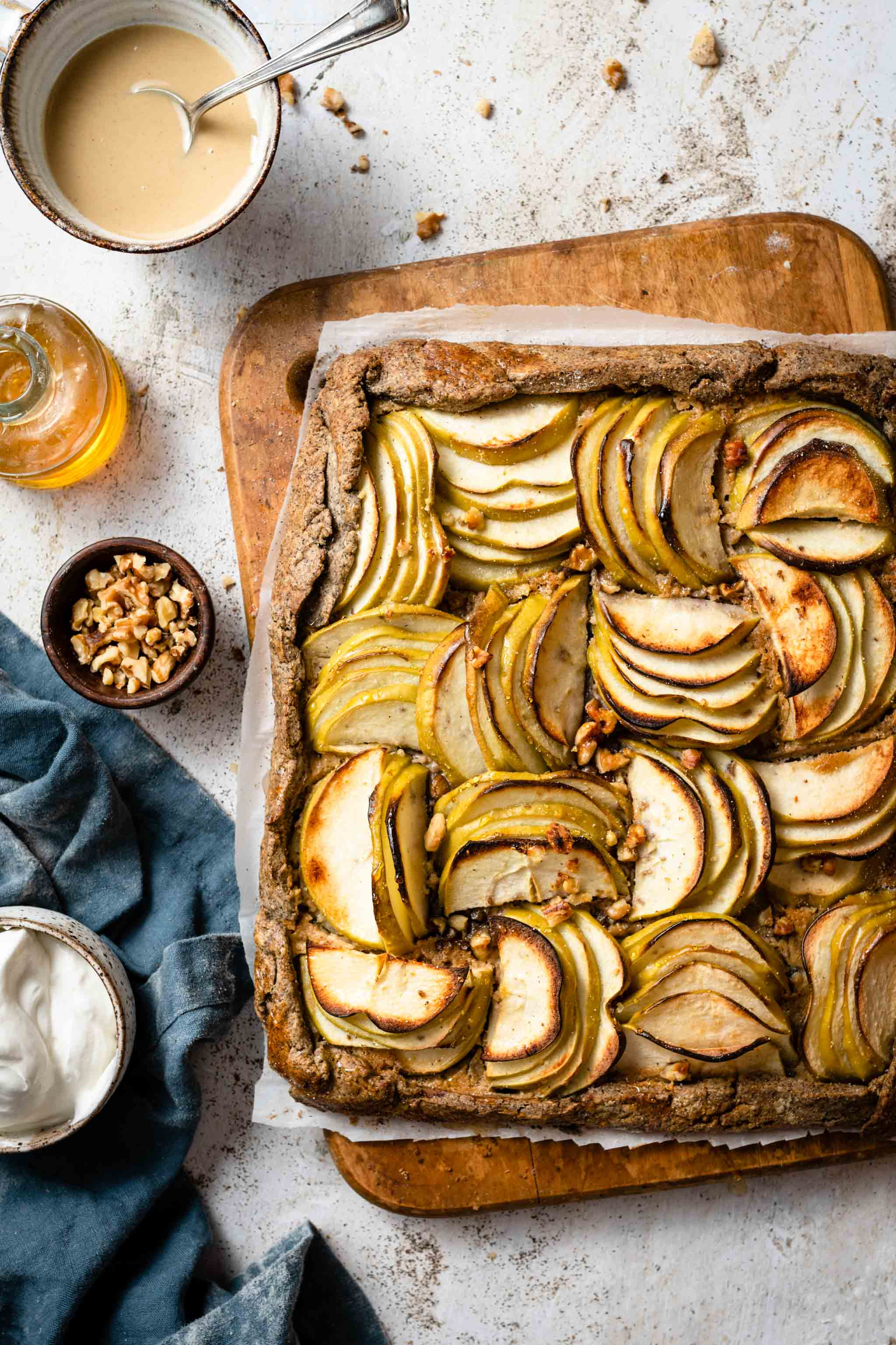 pear apple galette with tahini frangipane and buckwheat crust