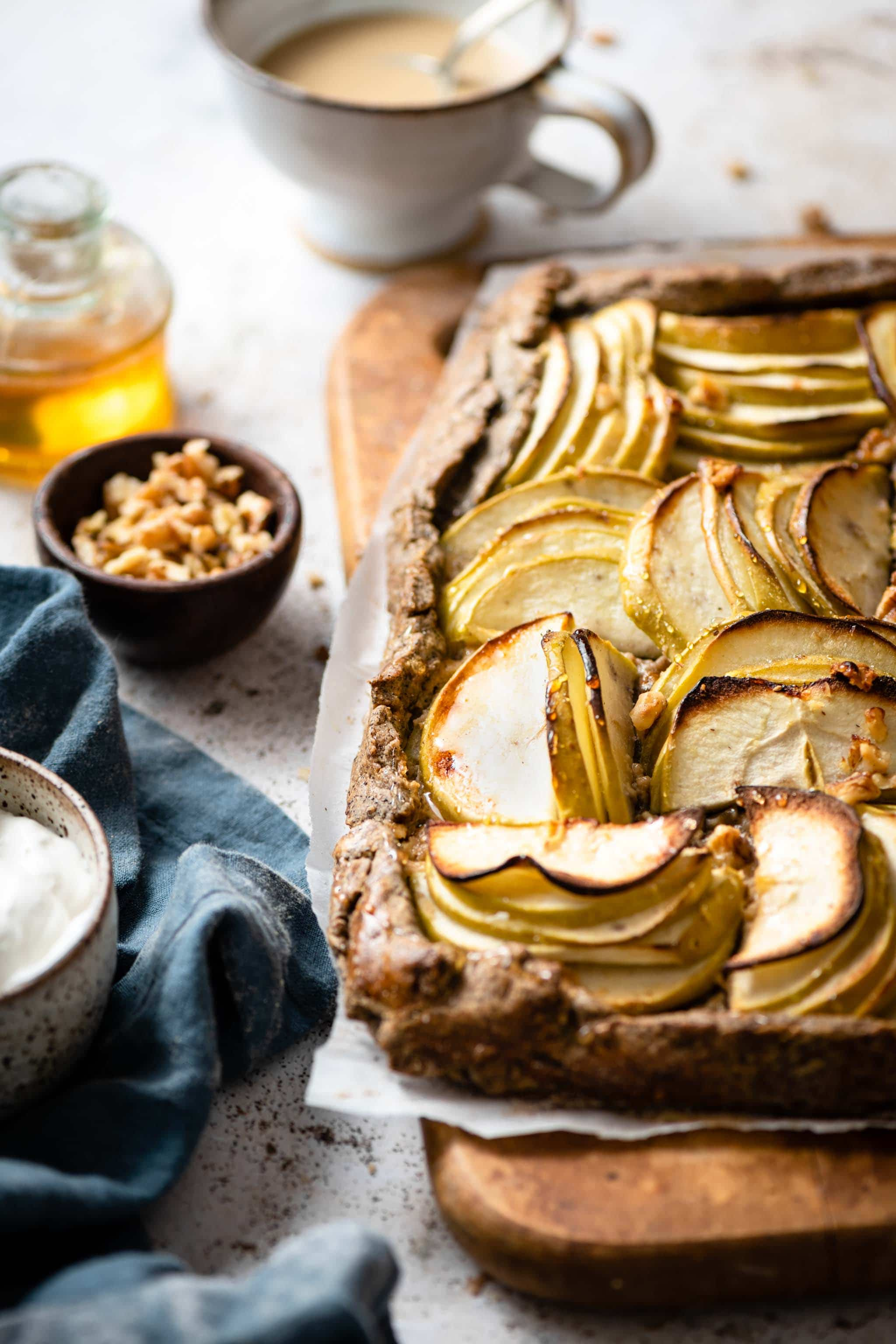 pear apple galette with buckwheat crust