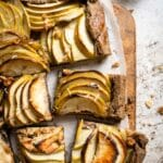 slice pear apple galette with buckwheat crust