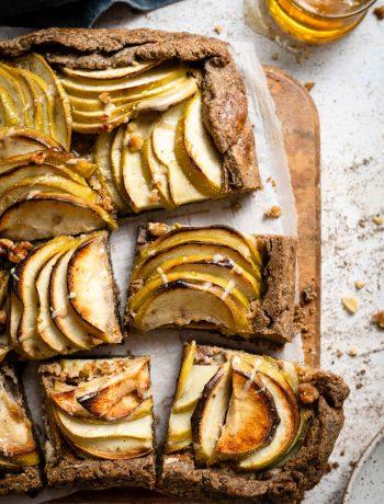 slice pear apple galette with buckwheat crust