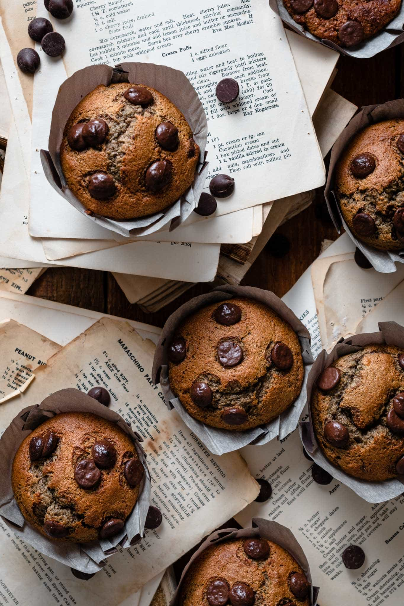 chocolate chip muffin recipe with bananas and plums