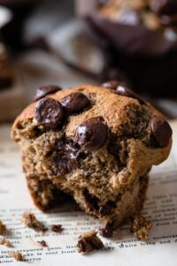 Roasted Plum Banana Muffins with Chocolate Chips