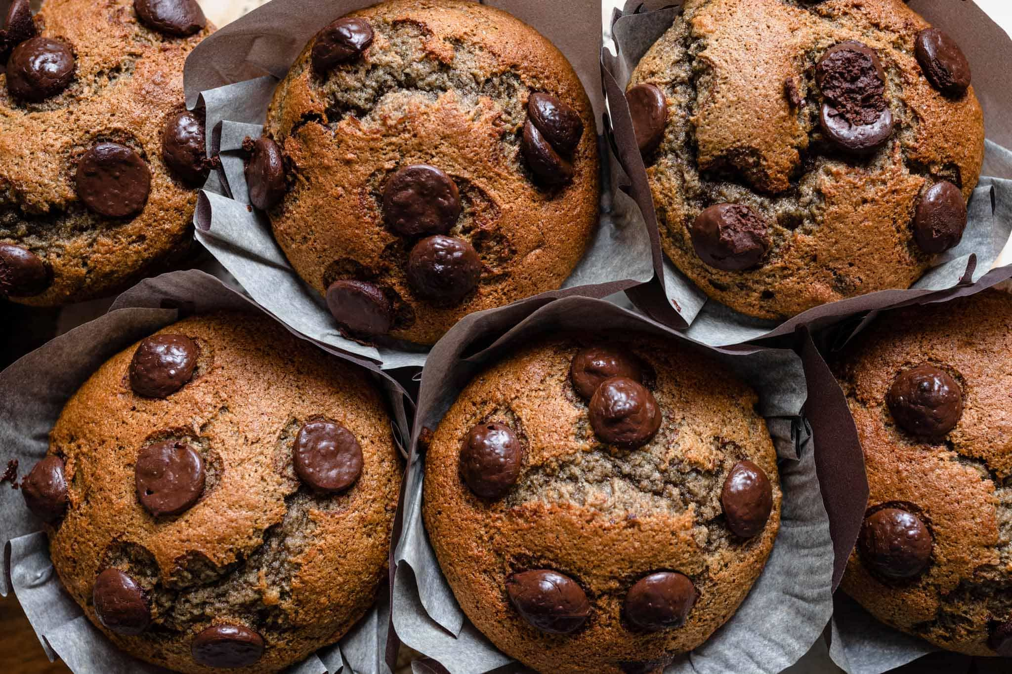 chocolate chip muffin recipe with banana and plum