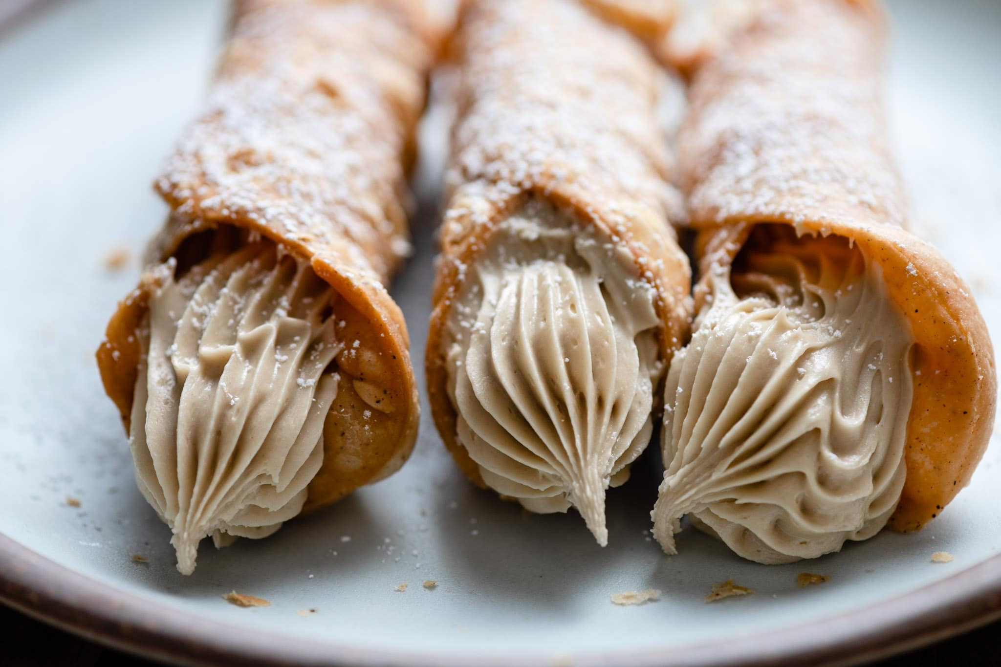 Homemade Cannoli recipe with sunflower butter filling
