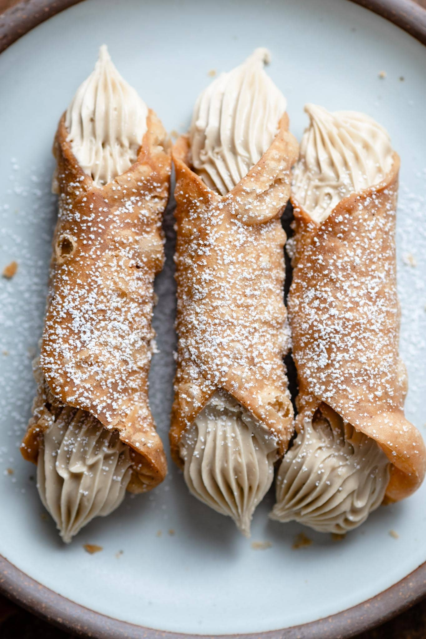 Homemade Cannoli with a Sunflower butter cream filling