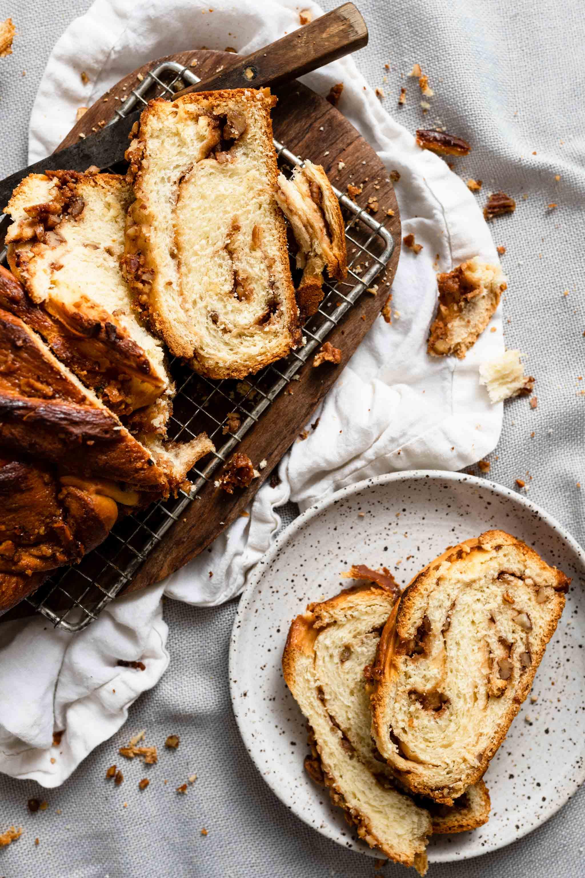 Sliced babka recipe loaf with caramel and butterscotch
