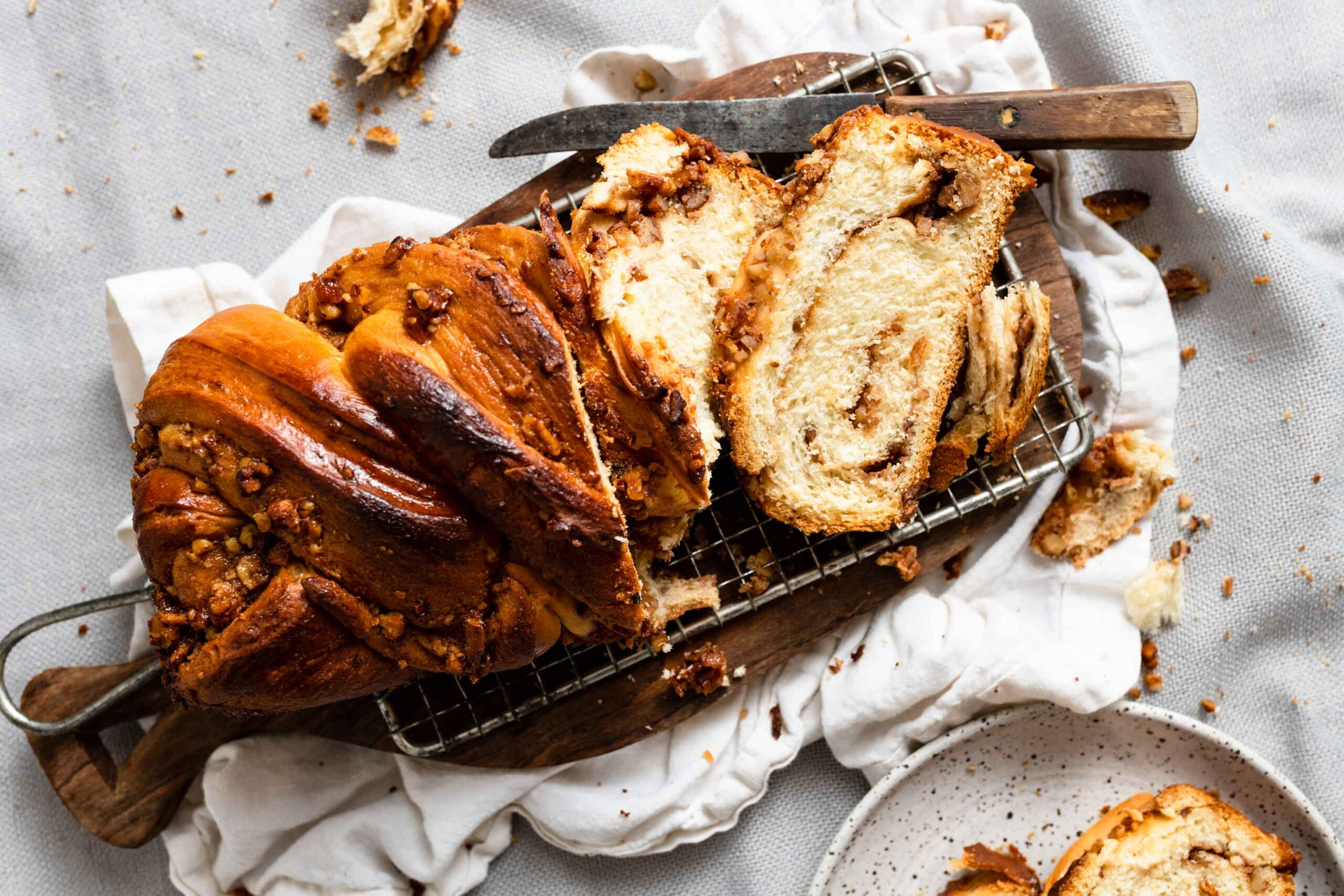 Caramel Babka bread recipe with pecans and butterscotch