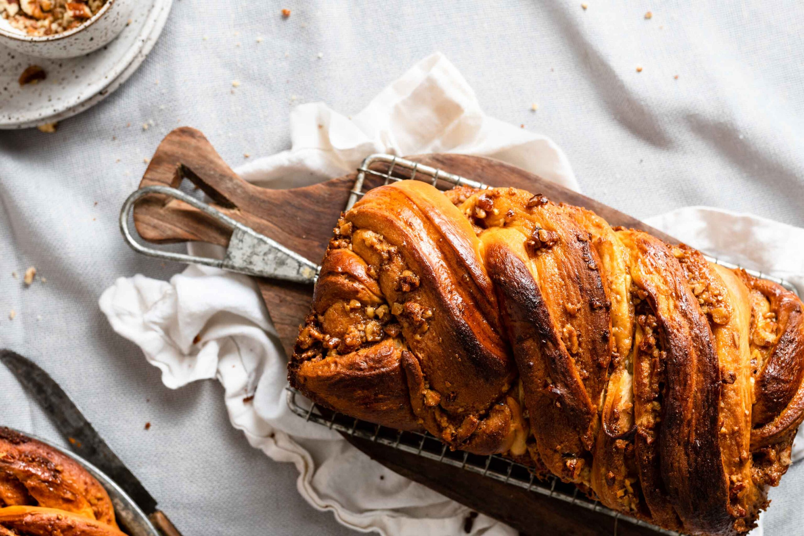 Caramel Babka recipe with pecans and butterscotch