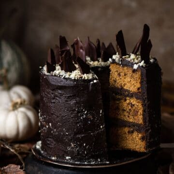 Pumpkin Cake with Chocolate Bourbon Buttercream for Halloween