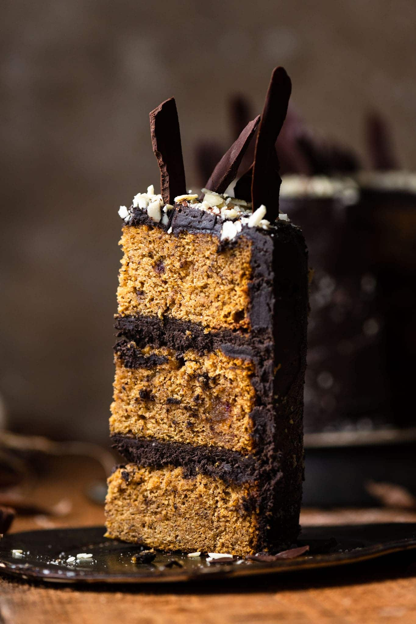 Chocolate Pumpkin Cake with hazelnuts, dates, and chocolate shards