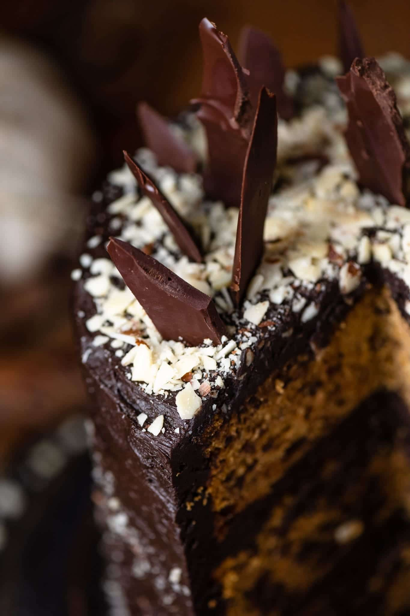 Chocolate layer cake with chocolate shards