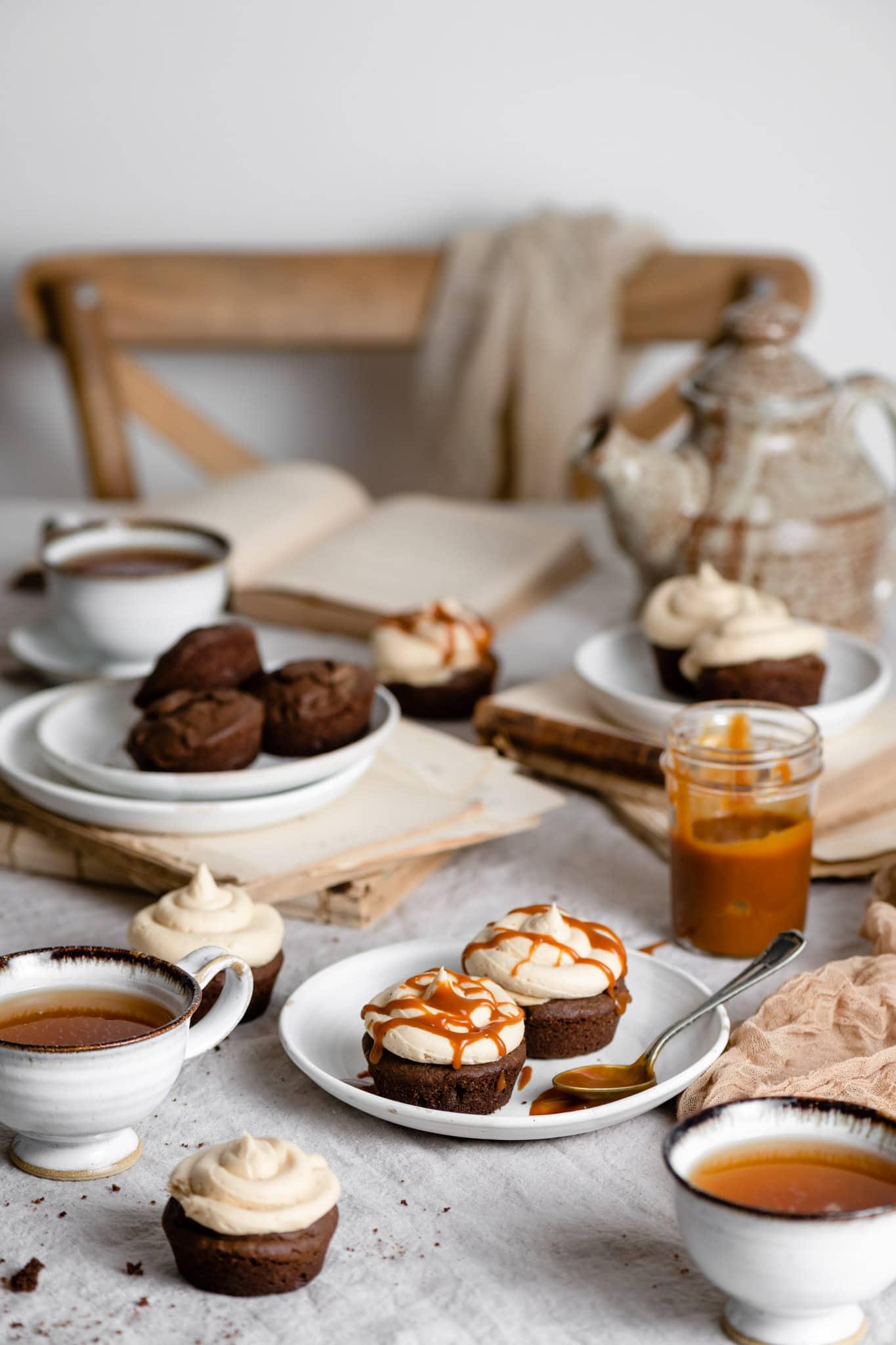 Homemade Caramel and Chai Buttercream on Brownie Cake