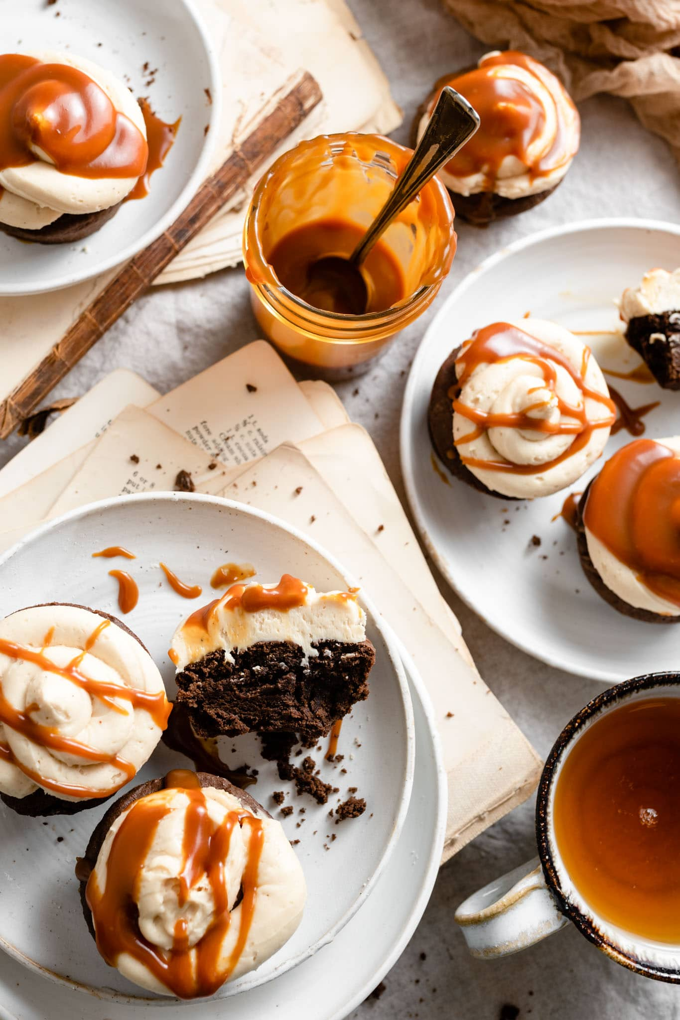Brownie Cakes with homemade salted caramel drizzle