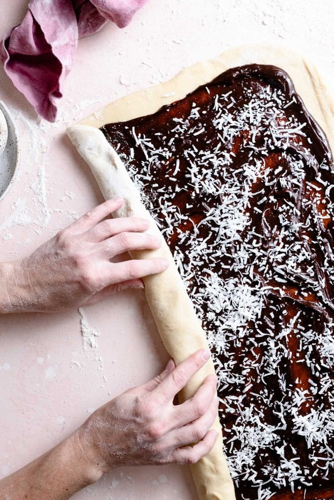 making coconut chocolate babka bread