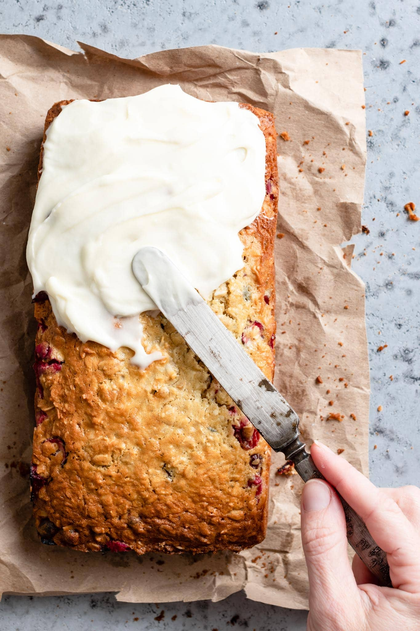Honey Cream Cheese Frosting on coconut cranberry bread