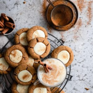 Gingerbread thumbprint cookie recipe with white chocolate and eggnog