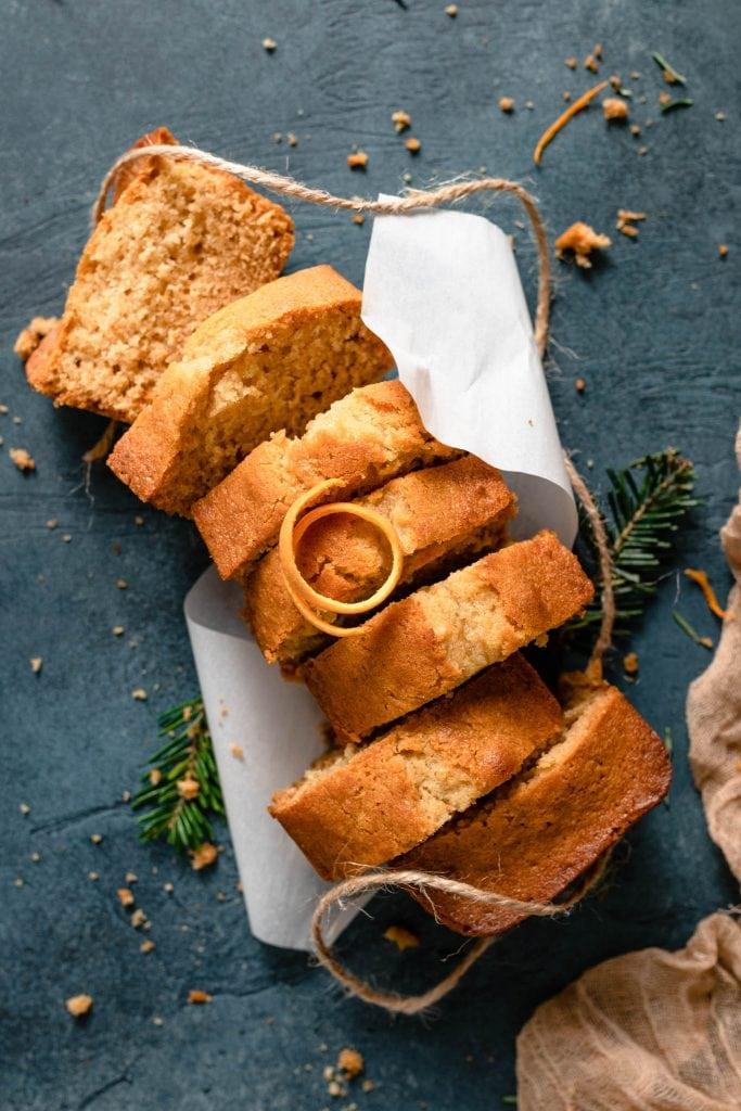 Sliced mini loaf orange ginger honey cakes.