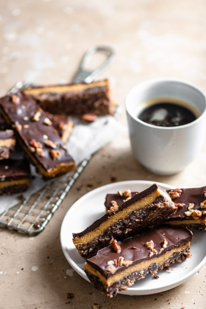 Coconut Persimmon Chocolate Slice with pecans